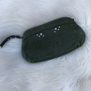 ❤️ Fossil Green Studded Leather Wristlet